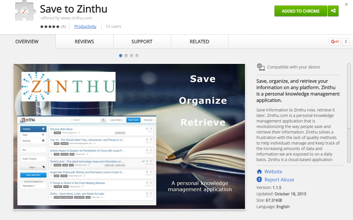 Zinthu Chrome Extension