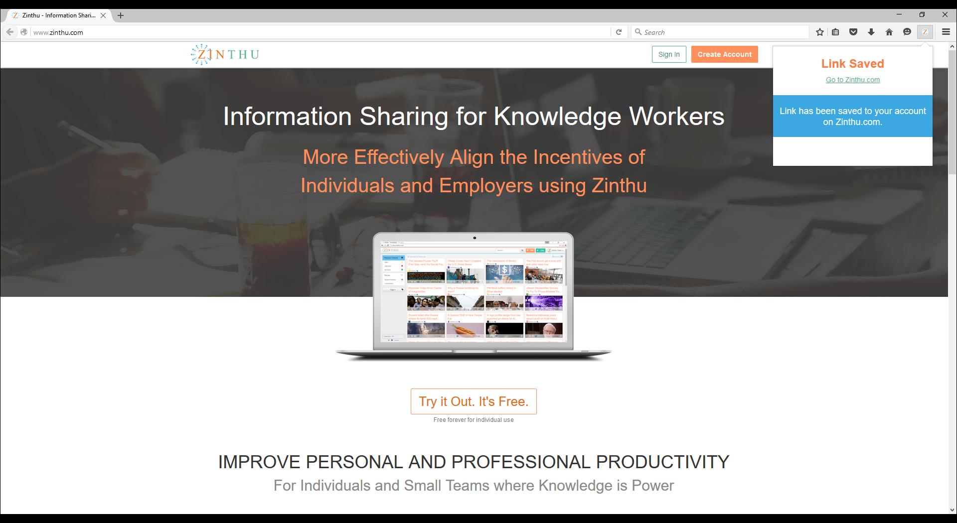 Zinthu Firefox Extension